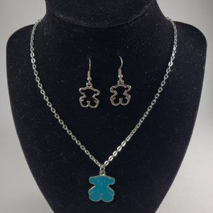 Silver color Necklace & Green Teddy Bear Pendant